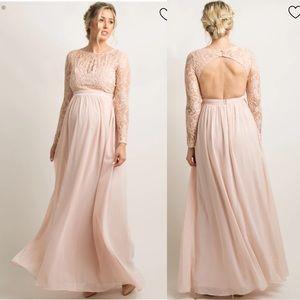 Pinkblush Pink Lace Trim Open Back Maternity Dress